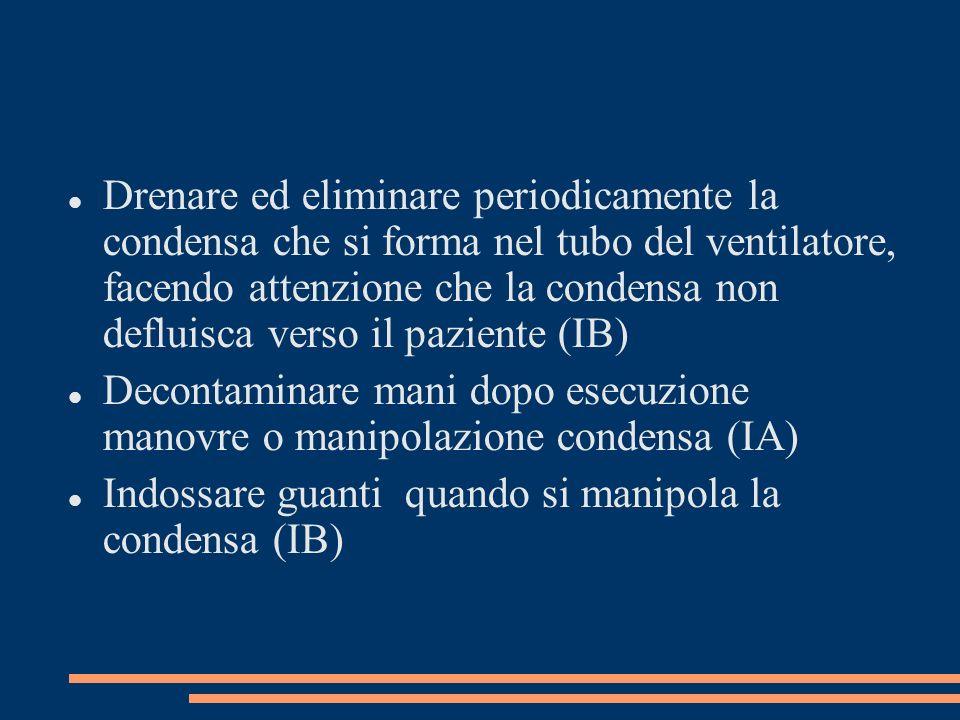 Drenare ed eliminare periodicamente la condensa che si forma nel tubo del ventilatore, facendo attenzione che la condensa non defluisca verso il pazie