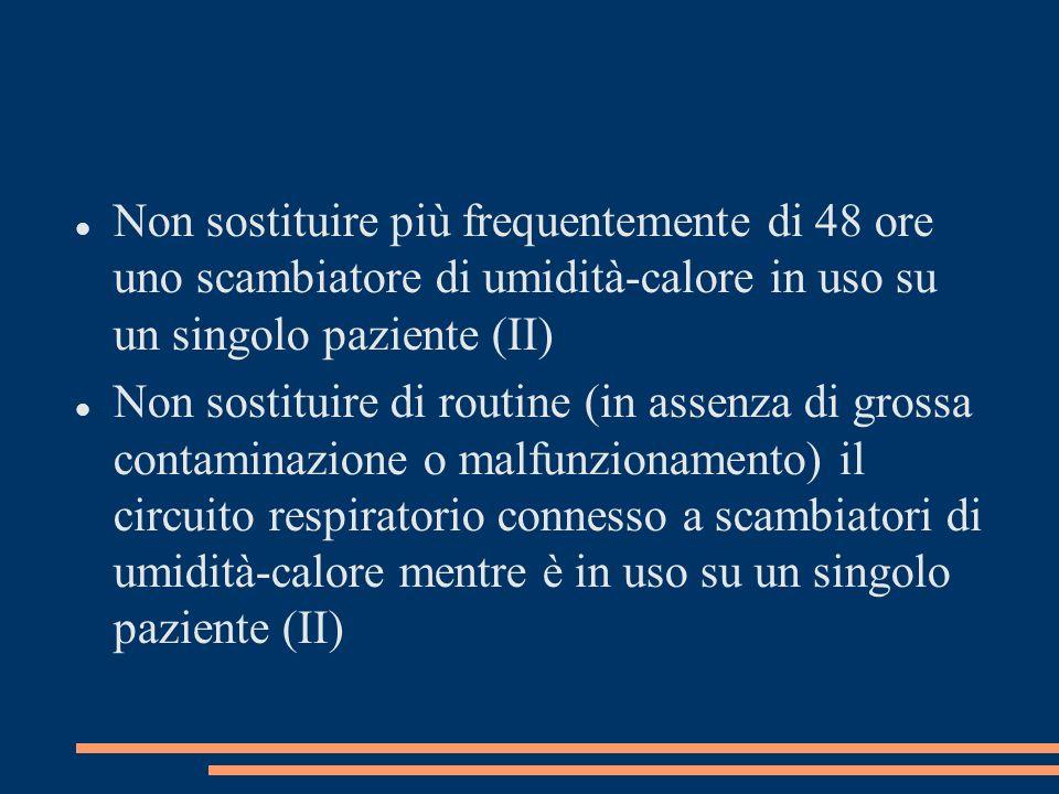 Non sostituire più frequentemente di 48 ore uno scambiatore di umidità-calore in uso su un singolo paziente (II) Non sostituire di routine (in assenza