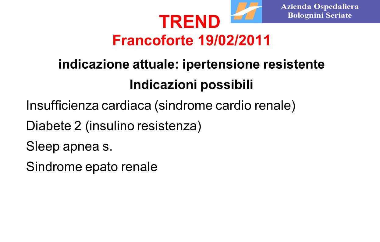 TREND Francoforte 19/02/2011 indicazione attuale: ipertensione resistente Indicazioni possibili Insufficienza cardiaca (sindrome cardio renale) Diabet