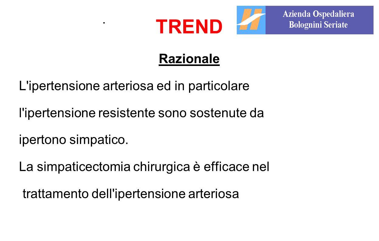 . TREND Razionale L'ipertensione arteriosa ed in particolare l'ipertensione resistente sono sostenute da ipertono simpatico. La simpaticectomia chirur