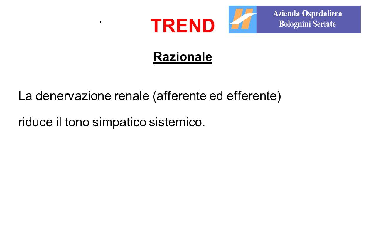 . TREND Razionale La denervazione renale (afferente ed efferente) riduce il tono simpatico sistemico.