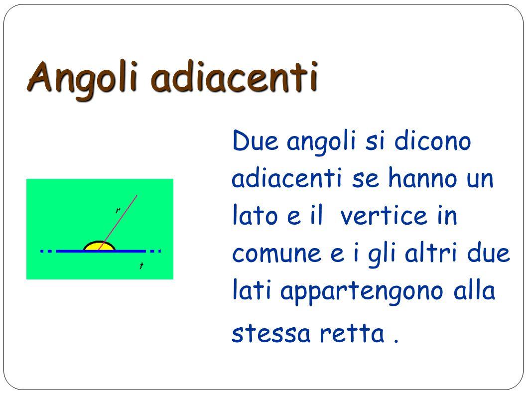 Angoli adiacenti Due angoli si dicono adiacenti se hanno un lato e il vertice in comune e i gli altri due lati appartengono alla stessa retta.