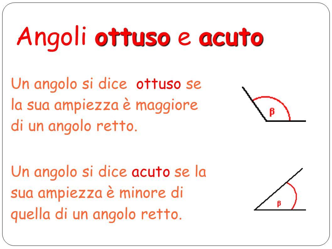 retto - Angolo retto: quando la sua ampiezza è la metà di quella di un angolo piatto piatto - Angolo piatto: se i suoi lati sono semirette opposte o adiacenti.