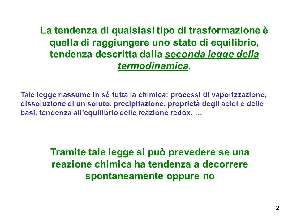 2 La tendenza di qualsiasi tipo di trasformazione è quella di raggiungere uno stato di equilibrio, tendenza descritta dalla seconda legge della termod