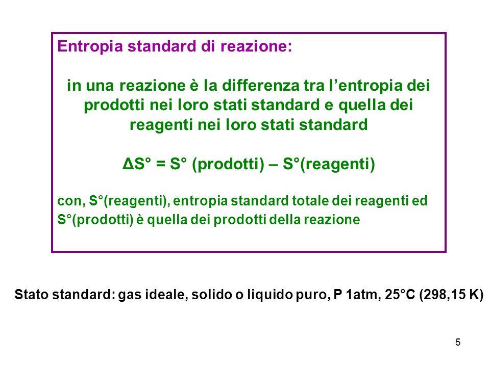 6 La variazione di Entropia dellambiente: ΔS amb La quantità di disordine generato nellambiente in seguito ad una trasformazione è proporzionale al calore trasferito ΔS°amb - ΔH Se il processo è esotermico (ΔH negativo) lentropia dellambiente aumenta Se il processo è endotermico (ΔH positivo) lentropia dellambiente diminuisce La variazione di entropia causata da una determinata quantità di calore dipende dalla temperatura: ΔS°amb = - ΔH / T da cui si può dedurre che lentropia dellambiente aumenta quando in esso viene trasferito del calore (processo esotermico) e che laumento è maggiore quando la temperatura è bassa