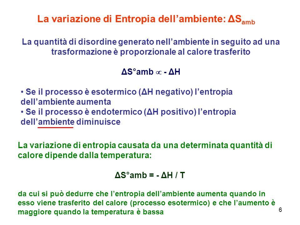 6 La variazione di Entropia dellambiente: ΔS amb La quantità di disordine generato nellambiente in seguito ad una trasformazione è proporzionale al ca