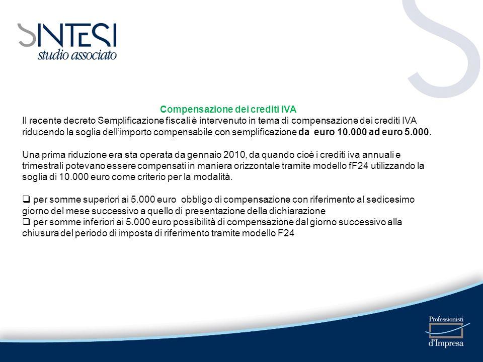 Compensazione dei crediti IVA Il recente decreto Semplificazione fiscali è intervenuto in tema di compensazione dei crediti IVA riducendo la soglia de