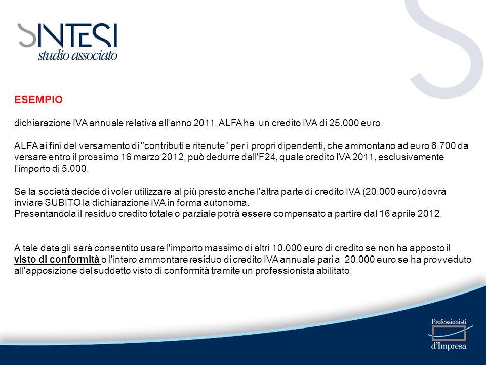 ESEMPIO dichiarazione IVA annuale relativa all'anno 2011, ALFA ha un credito IVA di 25.000 euro. ALFA ai fini del versamento di