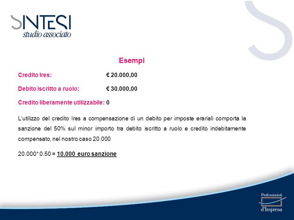 Esempi Credito Ires: 20.000,00 Debito iscritto a ruolo: 30.000,00 Credito liberamente utilizzabile:0 Lutilizzo del credito Ires a compensazione di un