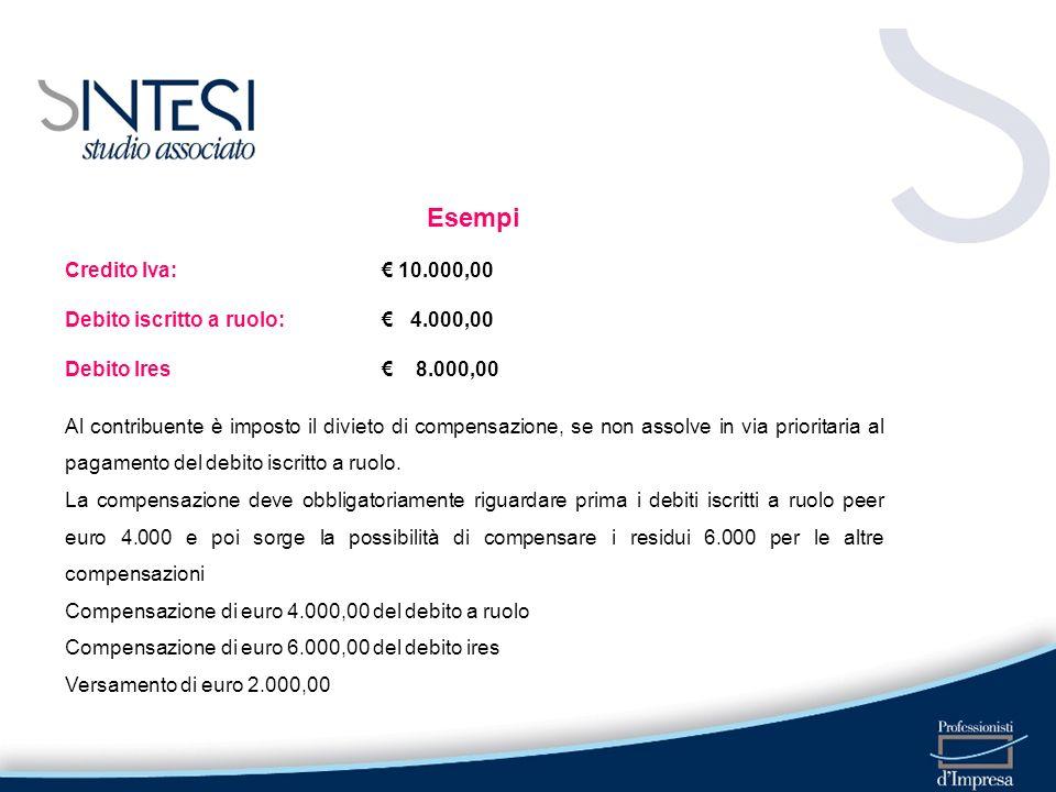Esempi Credito Iva: 10.000,00 Debito iscritto a ruolo: 4.000,00 Debito Ires 8.000,00 Al contribuente è imposto il divieto di compensazione, se non ass