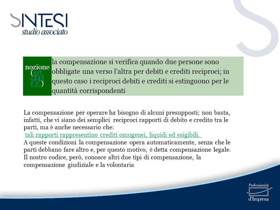 nozione (art. 1241 c.c.)art. 1241 c.c. la compensazione si verifica quando due persone sono obbligate una verso l'altra per debiti e crediti reciproci