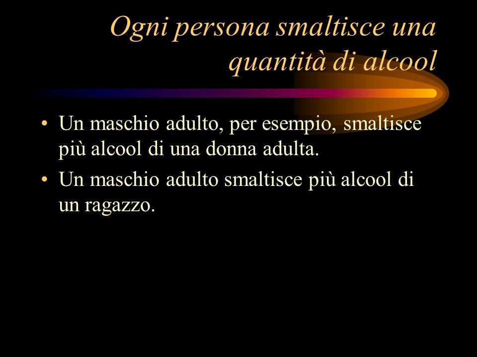 Ogni persona smaltisce una quantità di alcool Un maschio adulto, per esempio, smaltisce più alcool di una donna adulta. Un maschio adulto smaltisce pi