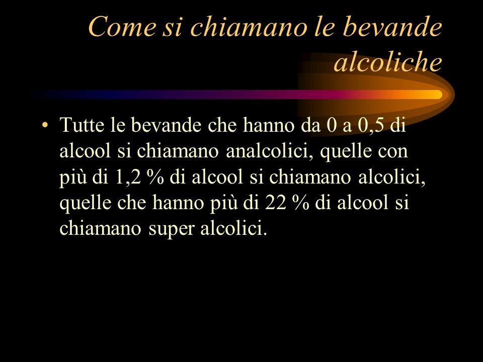 Come si chiamano le bevande alcoliche Tutte le bevande che hanno da 0 a 0,5 di alcool si chiamano analcolici, quelle con più di 1,2 % di alcool si chi