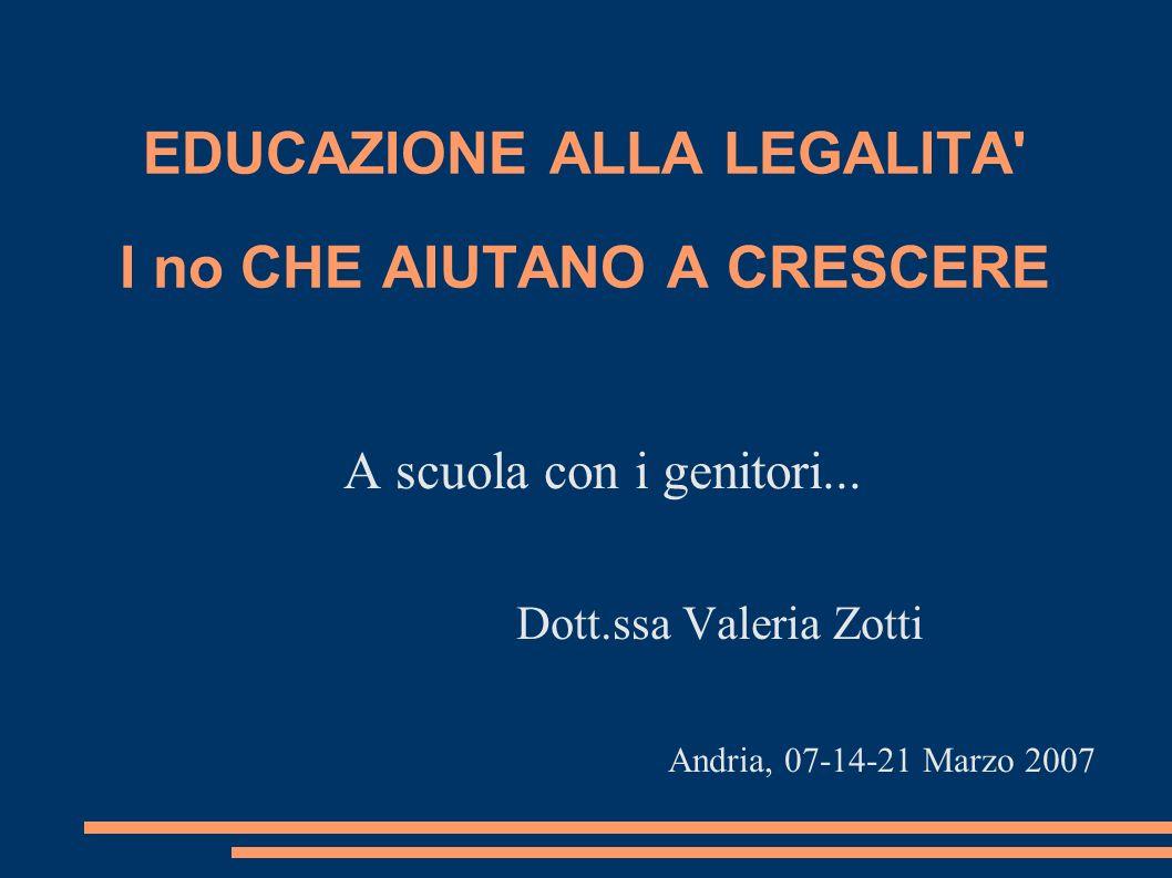 EDUCAZIONE ALLA LEGALITA' I no CHE AIUTANO A CRESCERE A scuola con i genitori... Dott.ssa Valeria Zotti Andria, 07-14-21 Marzo 2007