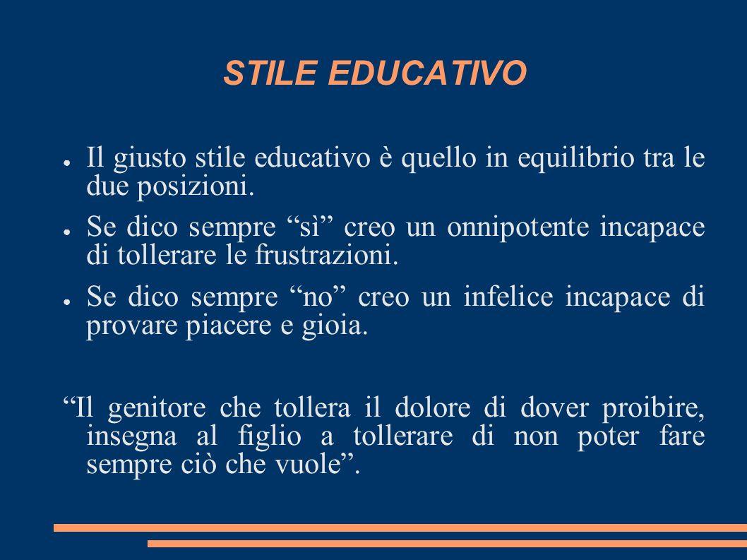 STILE EDUCATIVO Il giusto stile educativo è quello in equilibrio tra le due posizioni. Se dico sempre sì creo un onnipotente incapace di tollerare le