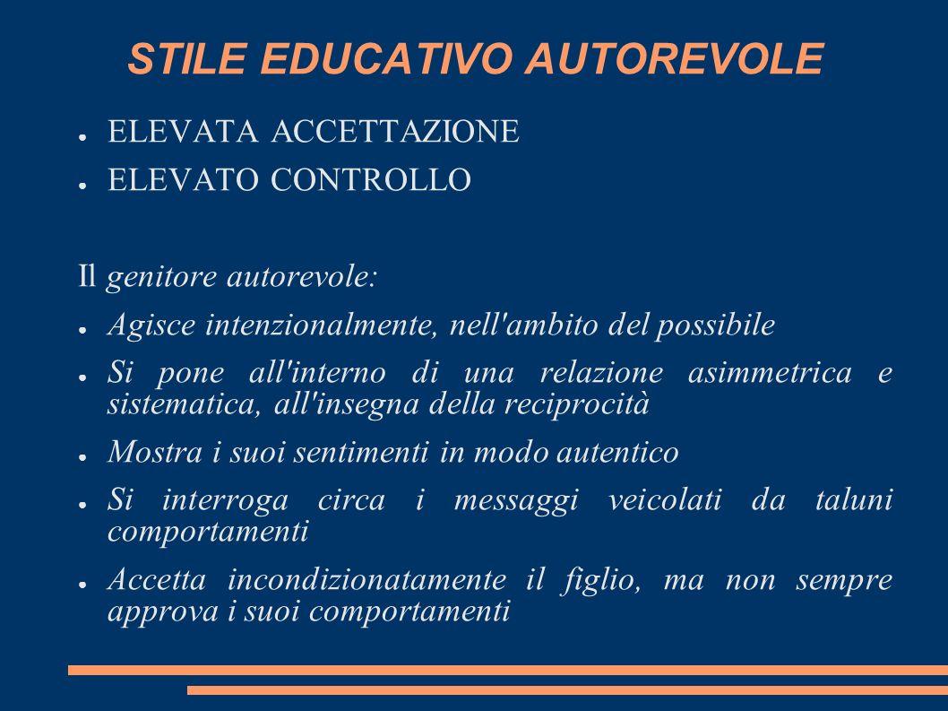 STILE EDUCATIVO AUTOREVOLE ELEVATA ACCETTAZIONE ELEVATO CONTROLLO Il genitore autorevole: Agisce intenzionalmente, nell'ambito del possibile Si pone a
