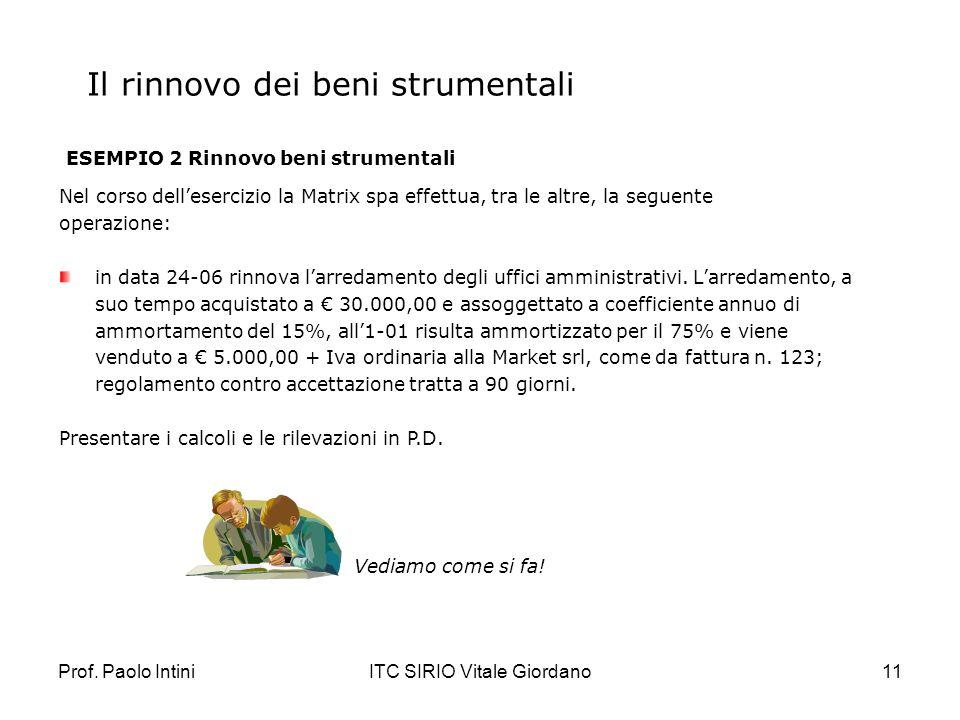 Prof. Paolo IntiniITC SIRIO Vitale Giordano11 Il rinnovo dei beni strumentali ESEMPIO 2 Rinnovo beni strumentali Nel corso dellesercizio la Matrix spa