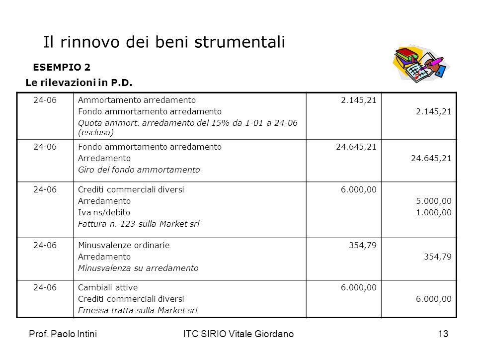 Prof. Paolo IntiniITC SIRIO Vitale Giordano13 ESEMPIO 2 Le rilevazioni in P.D. 24-06Ammortamento arredamento Fondo ammortamento arredamento Quota ammo