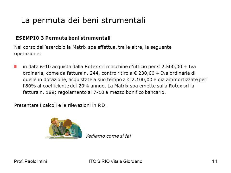Prof. Paolo IntiniITC SIRIO Vitale Giordano14 La permuta dei beni strumentali ESEMPIO 3 Permuta beni strumentali Nel corso dellesercizio la Matrix spa