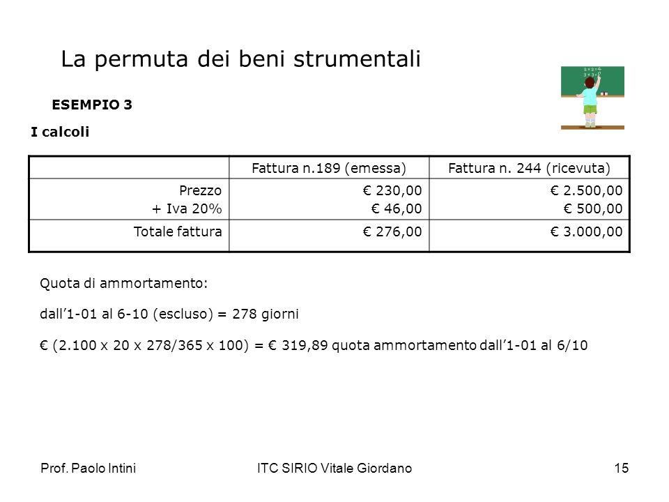 Prof. Paolo IntiniITC SIRIO Vitale Giordano15 ESEMPIO 3 I calcoli Fattura n.189 (emessa)Fattura n. 244 (ricevuta) Prezzo + Iva 20% 230,00 46,00 2.500,