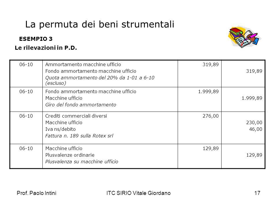 Prof. Paolo IntiniITC SIRIO Vitale Giordano17 ESEMPIO 3 Le rilevazioni in P.D. 06-10Ammortamento macchine ufficio Fondo ammortamento macchine ufficio