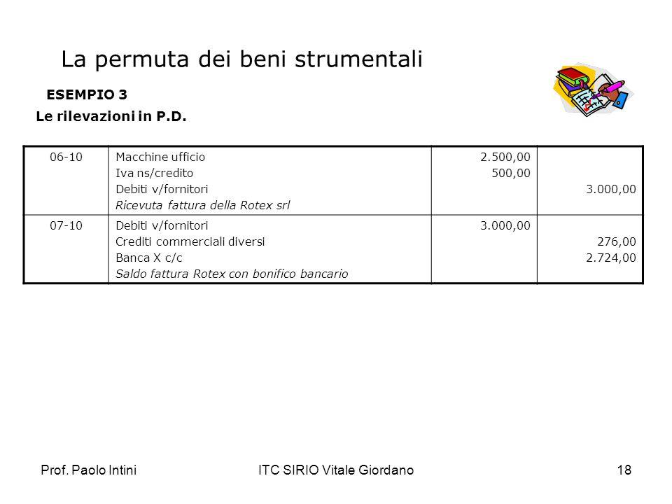 Prof. Paolo IntiniITC SIRIO Vitale Giordano18 ESEMPIO 3 Le rilevazioni in P.D. 06-10Macchine ufficio Iva ns/credito Debiti v/fornitori Ricevuta fattur