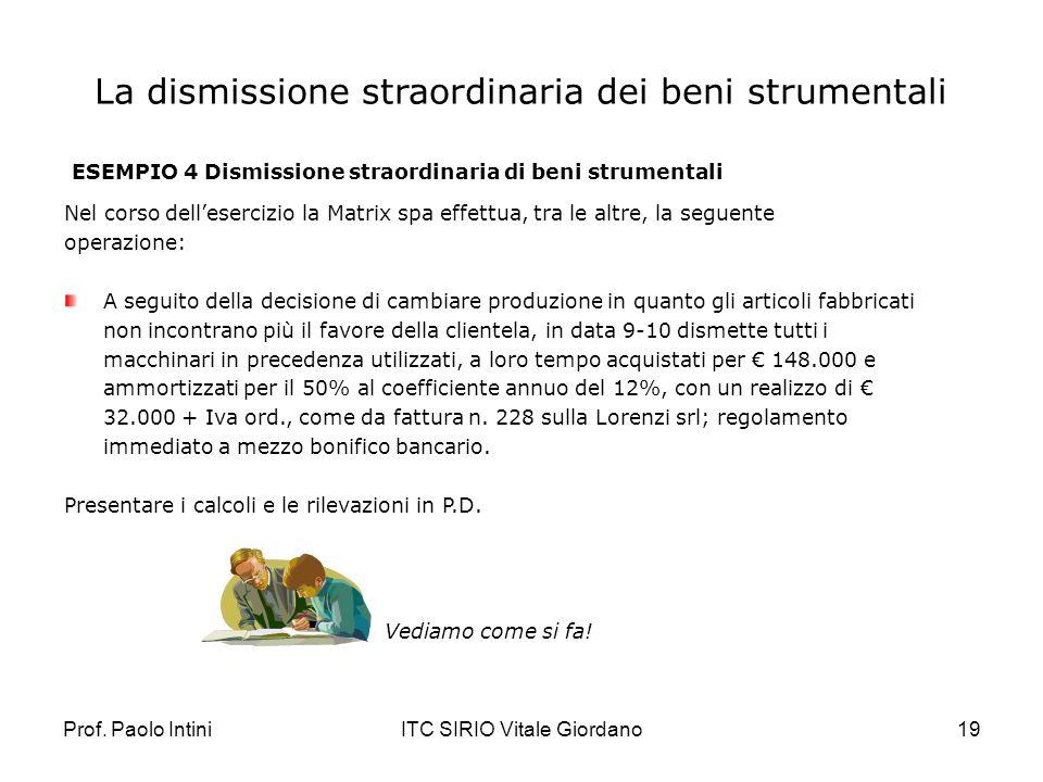 Prof. Paolo IntiniITC SIRIO Vitale Giordano19 La dismissione straordinaria dei beni strumentali ESEMPIO 4 Dismissione straordinaria di beni strumental