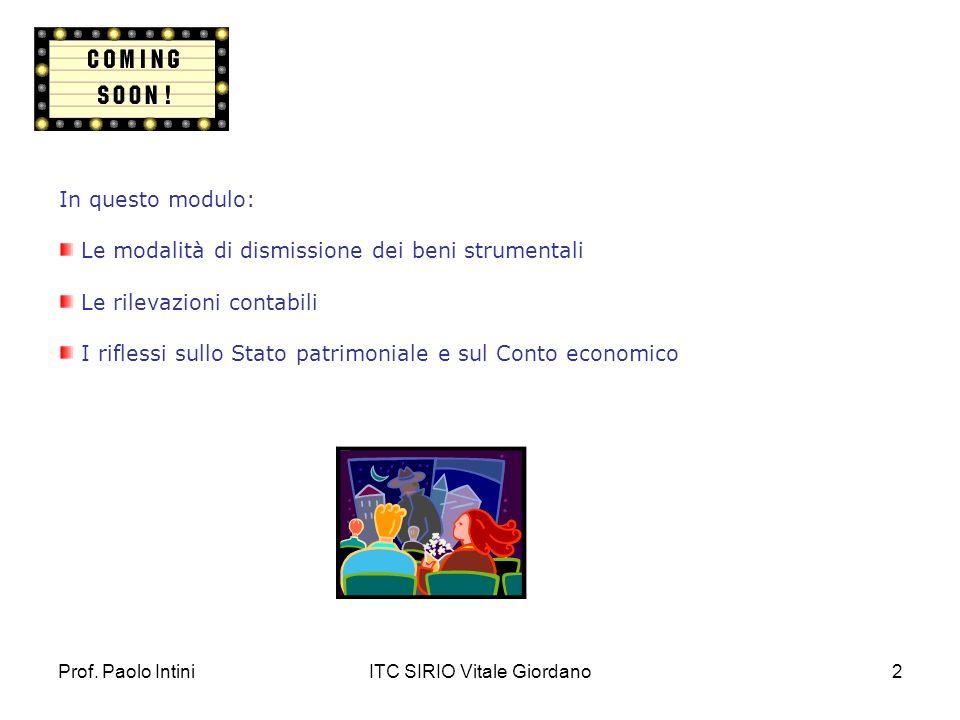 ITC SIRIO Vitale Giordano2 In questo modulo: Le modalità di dismissione dei beni strumentali Le rilevazioni contabili I riflessi sullo Stato patrimoni