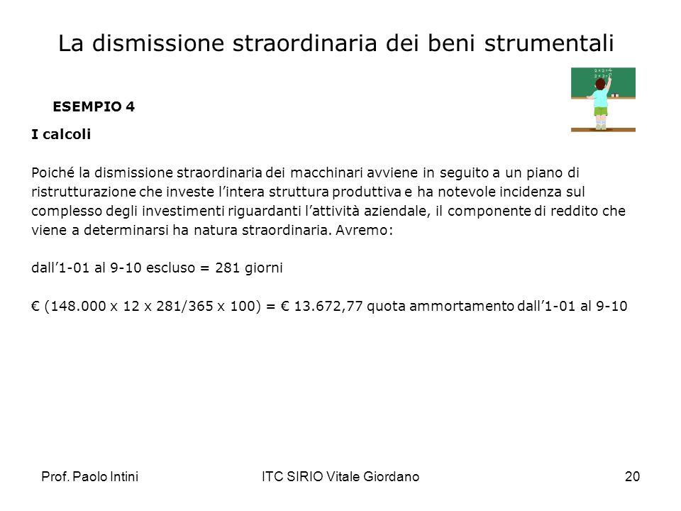 Prof. Paolo IntiniITC SIRIO Vitale Giordano20 ESEMPIO 4 I calcoli Poiché la dismissione straordinaria dei macchinari avviene in seguito a un piano di