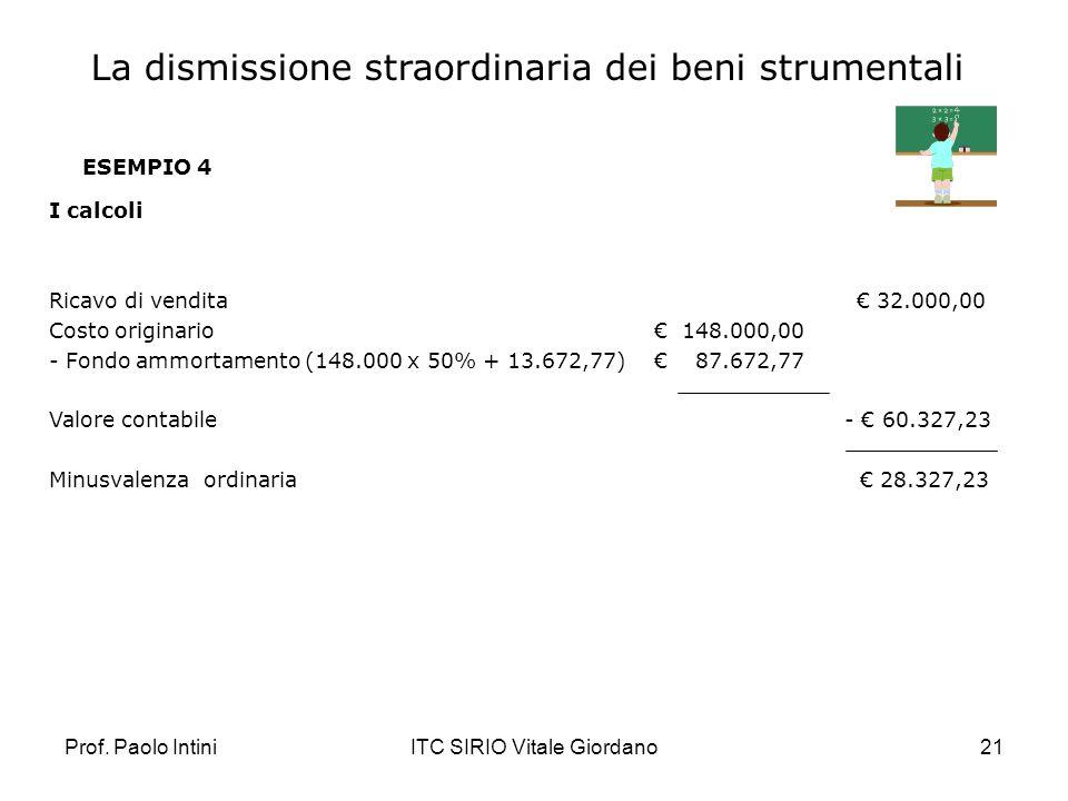 Prof. Paolo IntiniITC SIRIO Vitale Giordano21 ESEMPIO 4 I calcoli Ricavo di vendita 32.000,00 Costo originario 148.000,00 - Fondo ammortamento (148.00