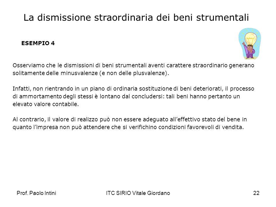 Prof. Paolo IntiniITC SIRIO Vitale Giordano22 ESEMPIO 4 Osserviamo che le dismissioni di beni strumentali aventi carattere straordinario generano soli