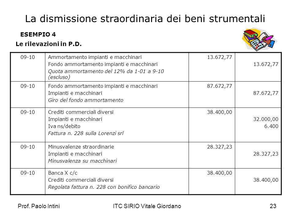 Prof. Paolo IntiniITC SIRIO Vitale Giordano23 ESEMPIO 4 Le rilevazioni in P.D. 09-10Ammortamento impianti e macchinari Fondo ammortamento impianti e m