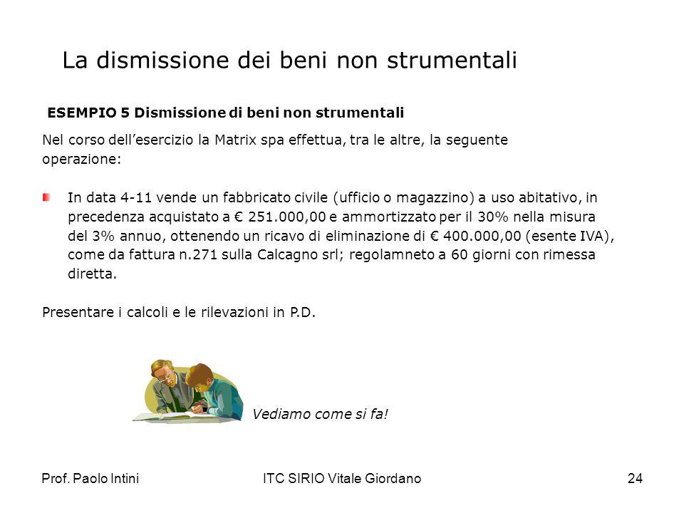 Prof. Paolo IntiniITC SIRIO Vitale Giordano24 La dismissione dei beni non strumentali ESEMPIO 5 Dismissione di beni non strumentali Nel corso delleser