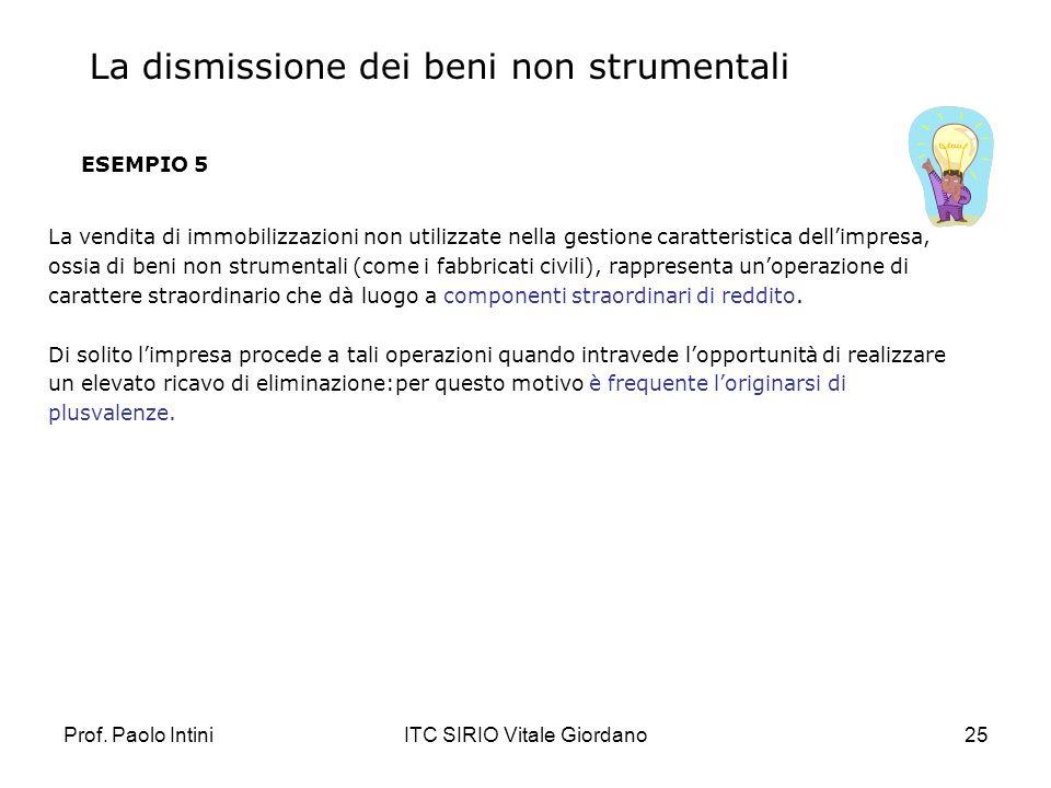 Prof. Paolo IntiniITC SIRIO Vitale Giordano25 ESEMPIO 5 La vendita di immobilizzazioni non utilizzate nella gestione caratteristica dellimpresa, ossia