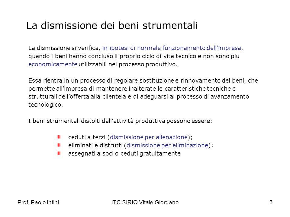 Prof. Paolo IntiniITC SIRIO Vitale Giordano3 La dismissione dei beni strumentali La dismissione si verifica, in ipotesi di normale funzionamento delli