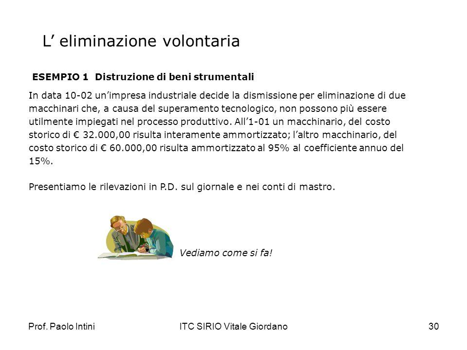 Prof. Paolo IntiniITC SIRIO Vitale Giordano30 L eliminazione volontaria ESEMPIO 1 Distruzione di beni strumentali In data 10-02 unimpresa industriale