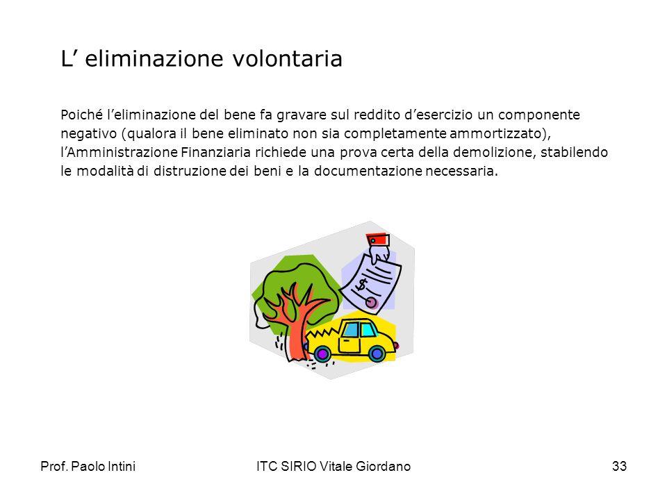 Prof. Paolo IntiniITC SIRIO Vitale Giordano33 L eliminazione volontaria Poiché leliminazione del bene fa gravare sul reddito desercizio un componente