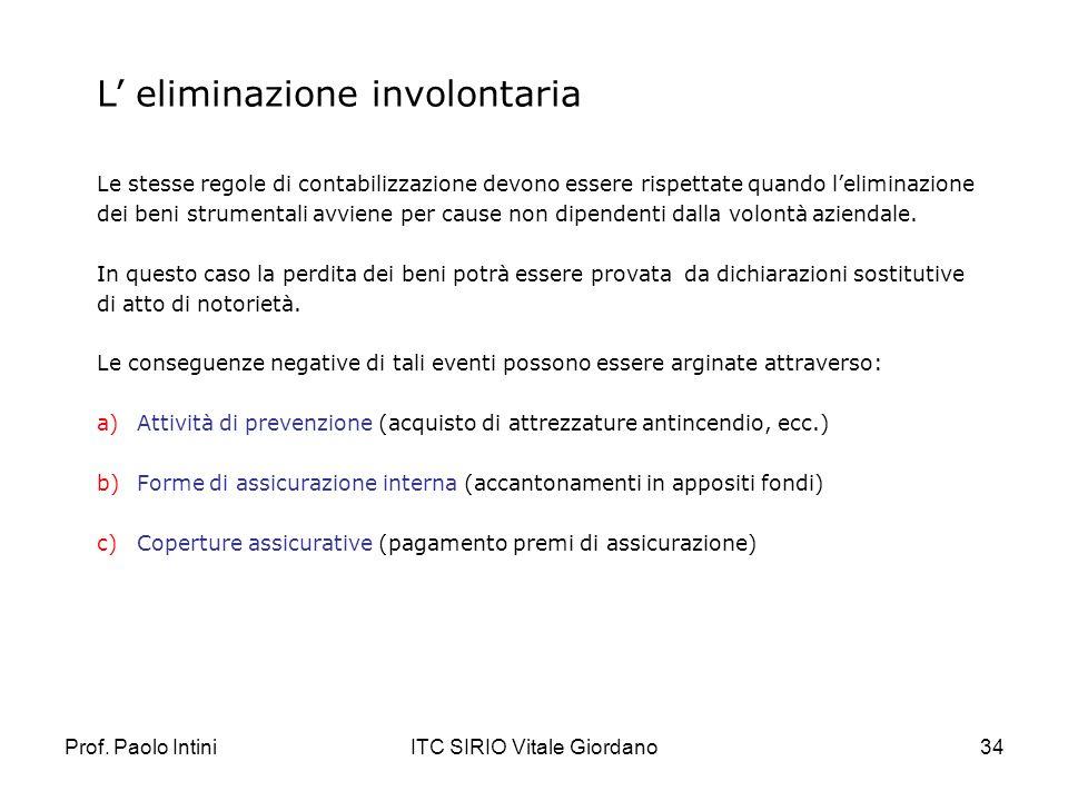 Prof. Paolo IntiniITC SIRIO Vitale Giordano34 L eliminazione involontaria Le stesse regole di contabilizzazione devono essere rispettate quando lelimi