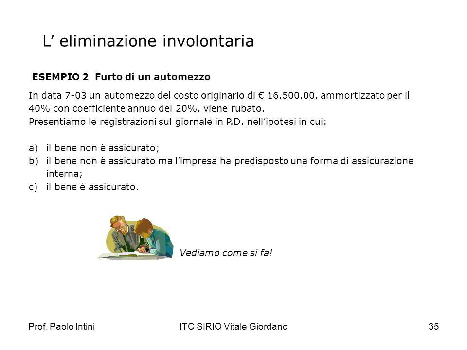 Prof. Paolo IntiniITC SIRIO Vitale Giordano35 L eliminazione involontaria ESEMPIO 2 Furto di un automezzo In data 7-03 un automezzo del costo originar