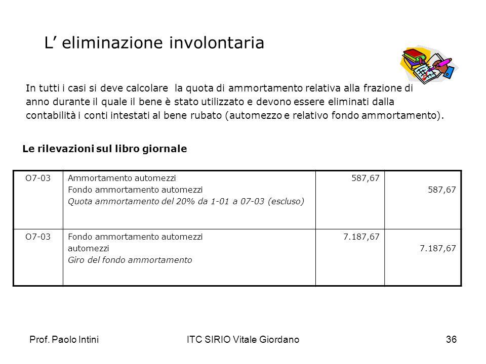Prof. Paolo IntiniITC SIRIO Vitale Giordano36 In tutti i casi si deve calcolare la quota di ammortamento relativa alla frazione di anno durante il qua