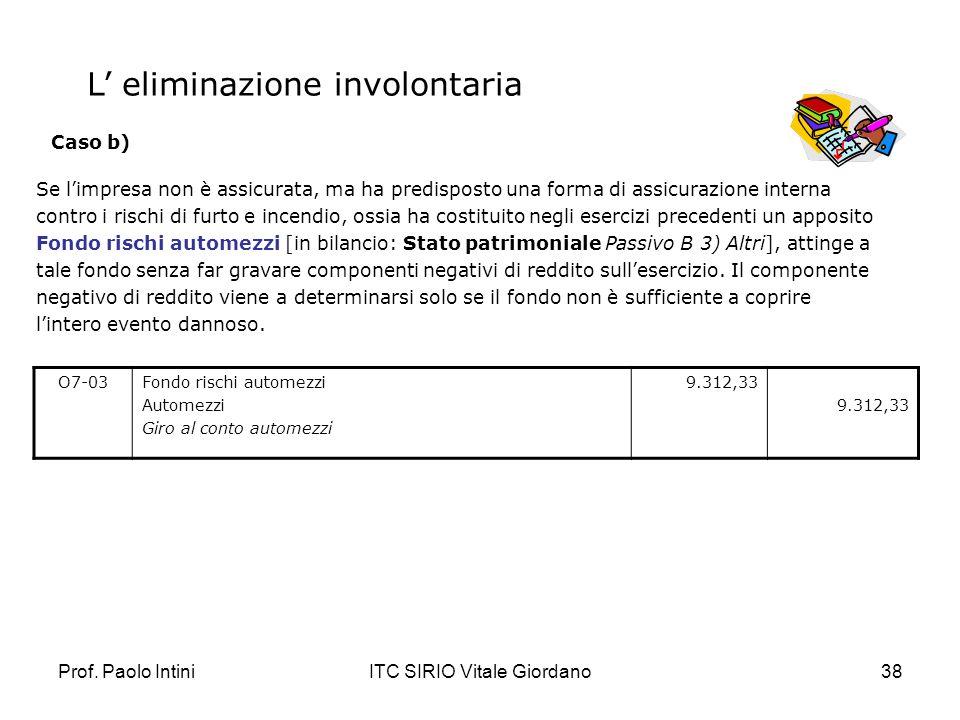 Prof. Paolo IntiniITC SIRIO Vitale Giordano38 Se limpresa non è assicurata, ma ha predisposto una forma di assicurazione interna contro i rischi di fu