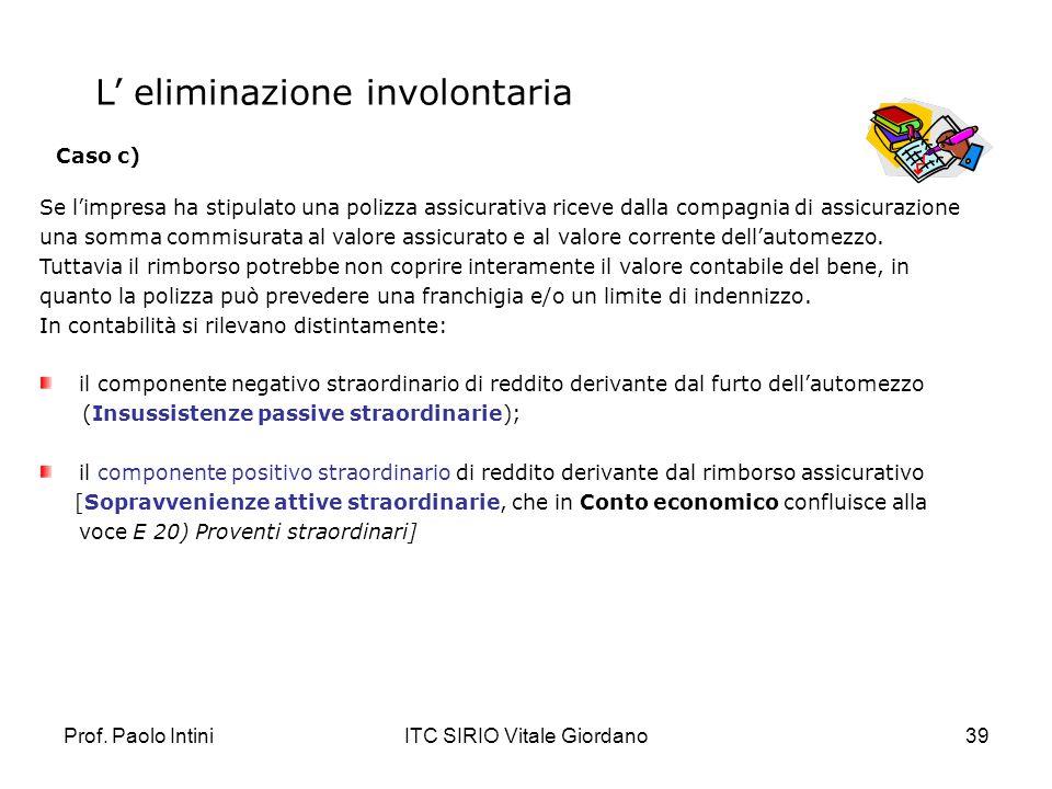 Prof. Paolo IntiniITC SIRIO Vitale Giordano39 Se limpresa ha stipulato una polizza assicurativa riceve dalla compagnia di assicurazione una somma comm