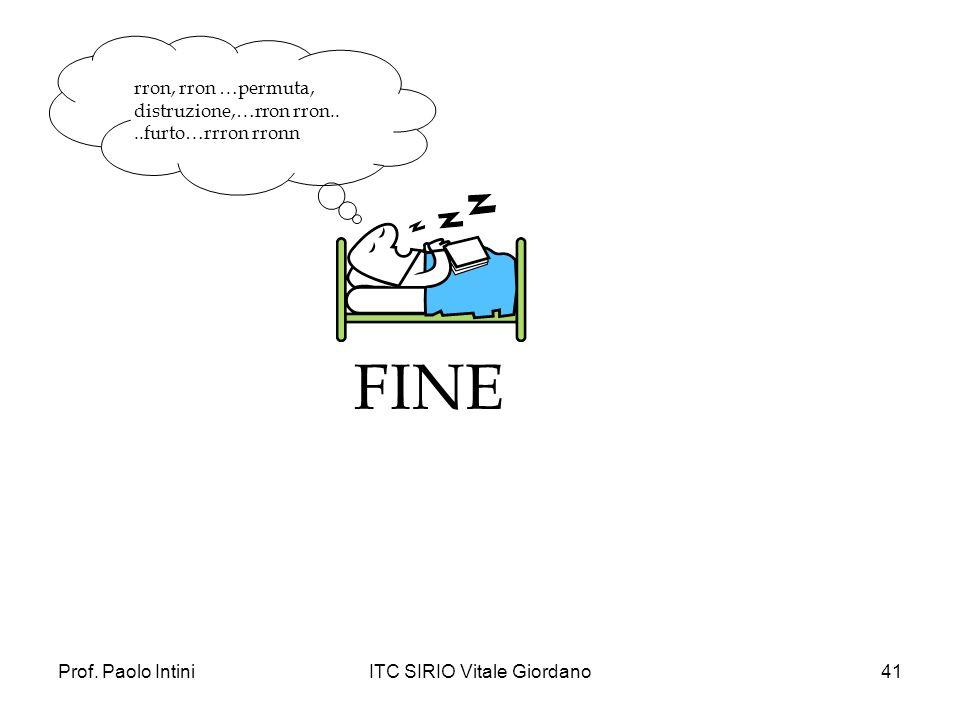 Prof. Paolo IntiniITC SIRIO Vitale Giordano41 FINE rron, rron …permuta, distruzione,…rron rron....furto…rrron rronn