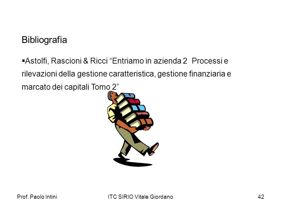 Prof. Paolo IntiniITC SIRIO Vitale Giordano42 Astolfi, Rascioni & Ricci Entriamo in azienda 2 Processi e rilevazioni della gestione caratteristica, ge