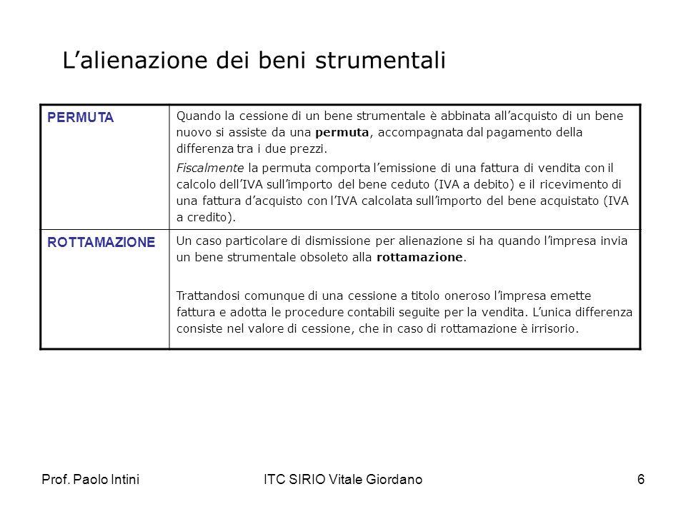 Prof. Paolo IntiniITC SIRIO Vitale Giordano6 Lalienazione dei beni strumentali PERMUTA Quando la cessione di un bene strumentale è abbinata allacquist