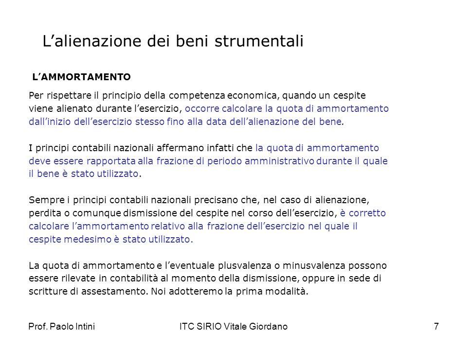 Prof. Paolo IntiniITC SIRIO Vitale Giordano7 Lalienazione dei beni strumentali LAMMORTAMENTO Per rispettare il principio della competenza economica, q