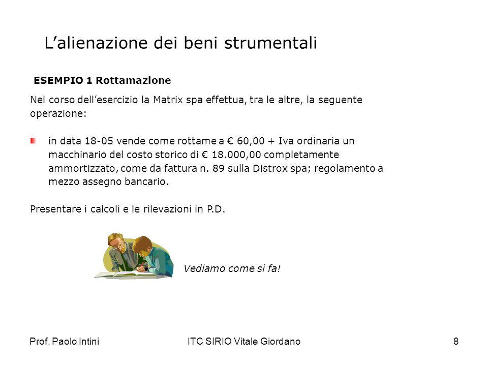 Prof. Paolo IntiniITC SIRIO Vitale Giordano8 Lalienazione dei beni strumentali ESEMPIO 1 Rottamazione Nel corso dellesercizio la Matrix spa effettua,