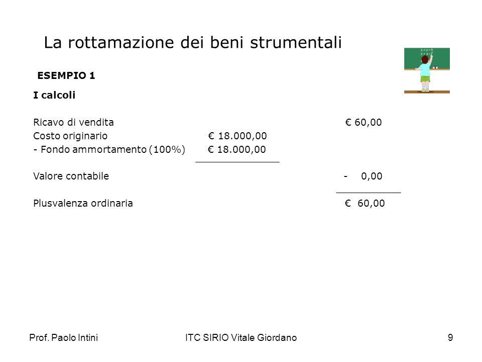 Prof. Paolo IntiniITC SIRIO Vitale Giordano9 La rottamazione dei beni strumentali ESEMPIO 1 I calcoli Ricavo di vendita 60,00 Costo originario 18.000,