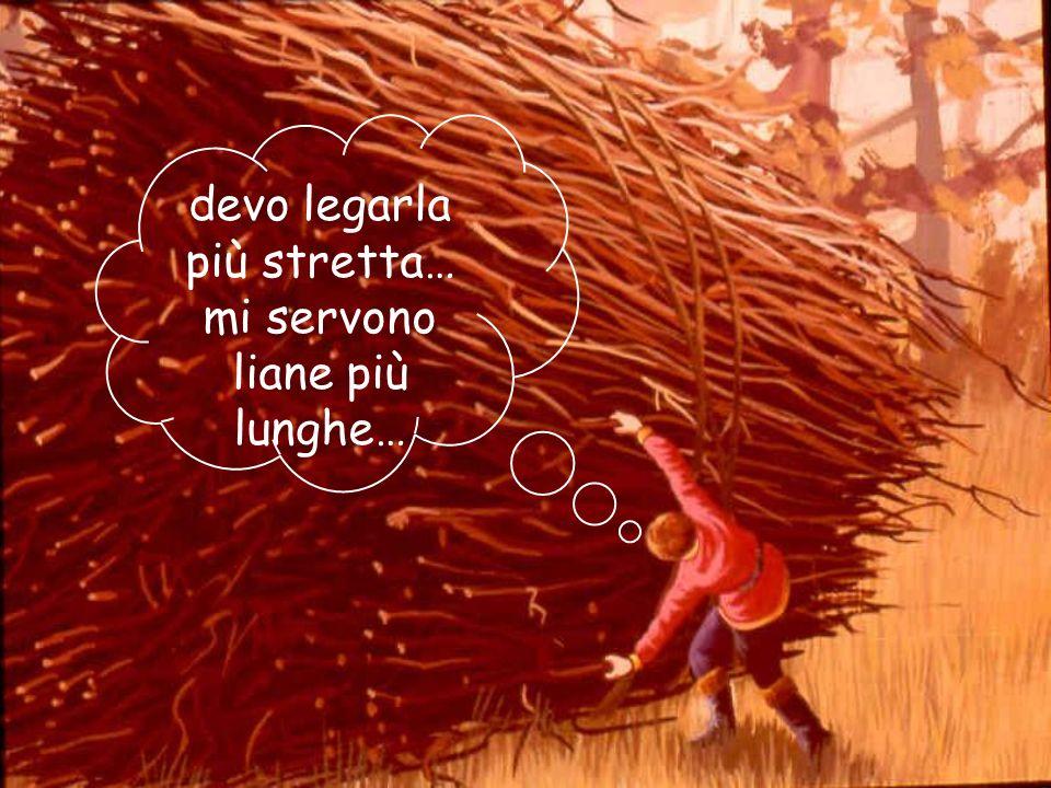 02/03/201422 Tagliò tanta legna... Ammucchiò una fascina così grande che la corda non gli bastava. Allora continuò a legarla con delle liane.