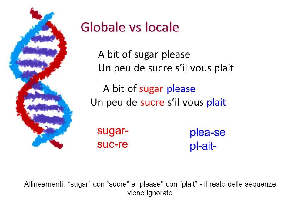 Globale vs locale A bit of sugar please Un peu de sucre sil vous plait A bit of sugar please Un peu de sucre sil vous plait Allineamenti: sugar con sucre e please con plait - il resto delle sequenze viene ignorato sugar- suc-re plea-se pl-ait-